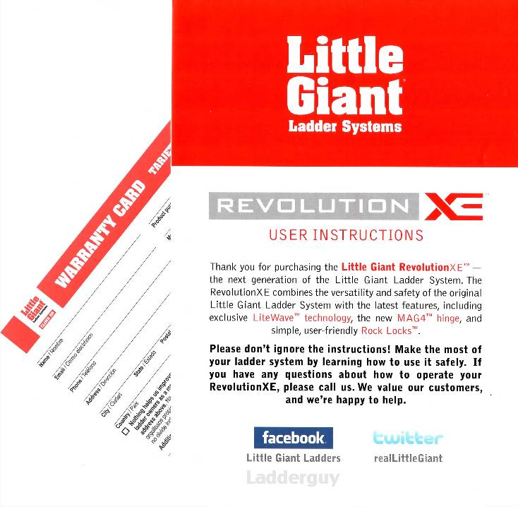 Little Giant Revolution Xe Ladder User Instructions How To